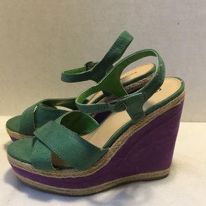 Express green/purple high wedge size 9
